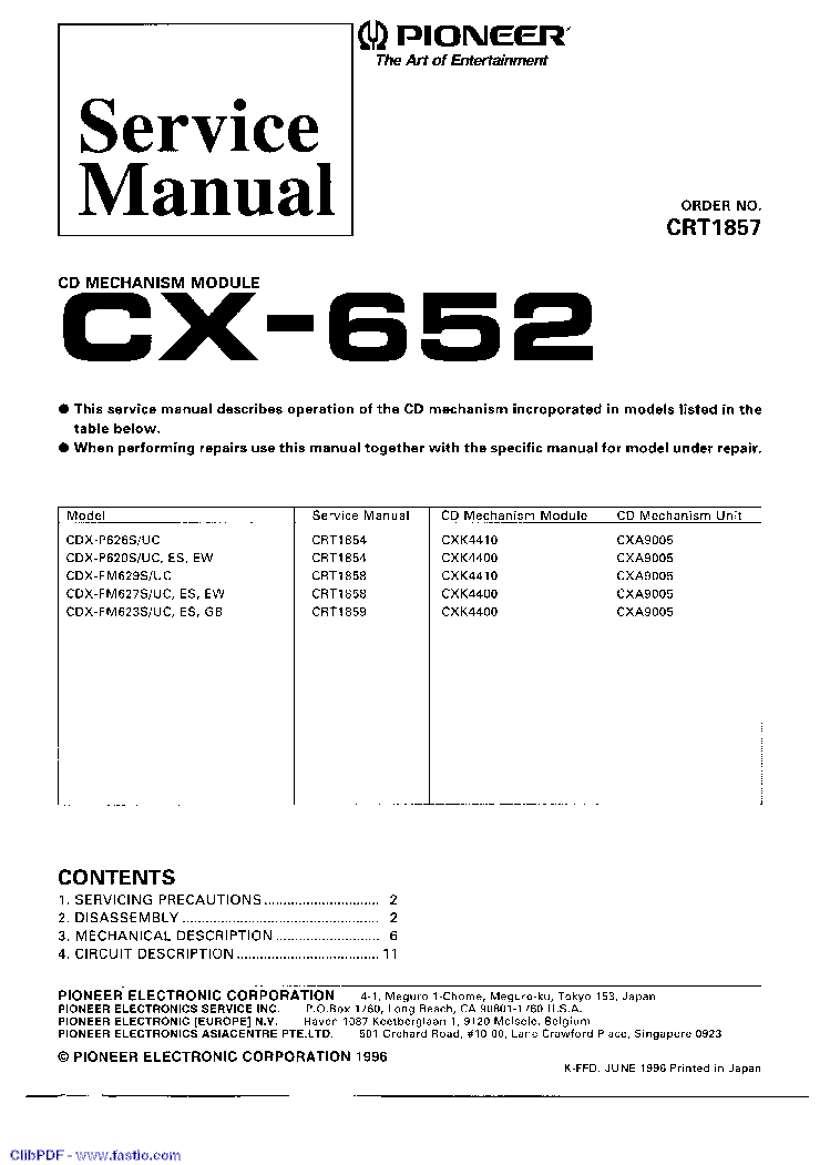 PIONEER CX-652 service manual (1st page)