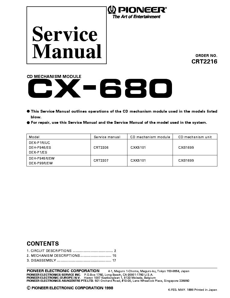 PIONEER CX-680 service manual (1st page)