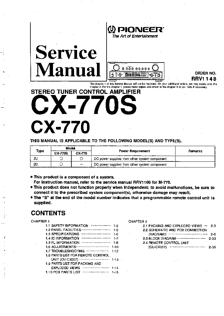 PIONEER CX-770 770S SM service manual (1st page)