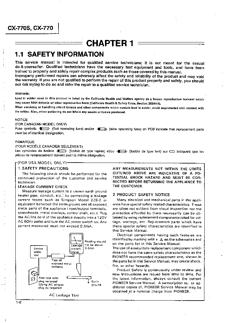 PIONEER CX-770 770S SM service manual (2nd page)