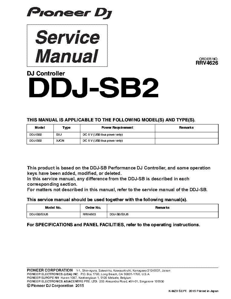 pioneer ddj sb2 rrv4626 dj controller service manual download rh elektrotanya com bosch performance service manual bosch performance cx service manual