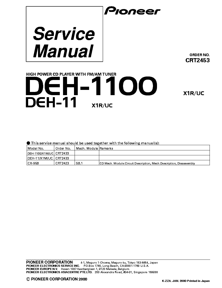 Pioneer Deh 11 Wiring Diagram - Wiring Data