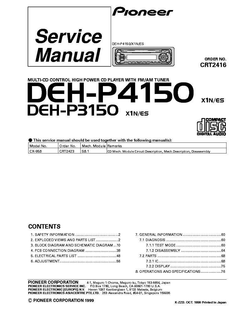 PIONEER DEH-P3150 4150 Service Manual download, schematics, eeprom ...
