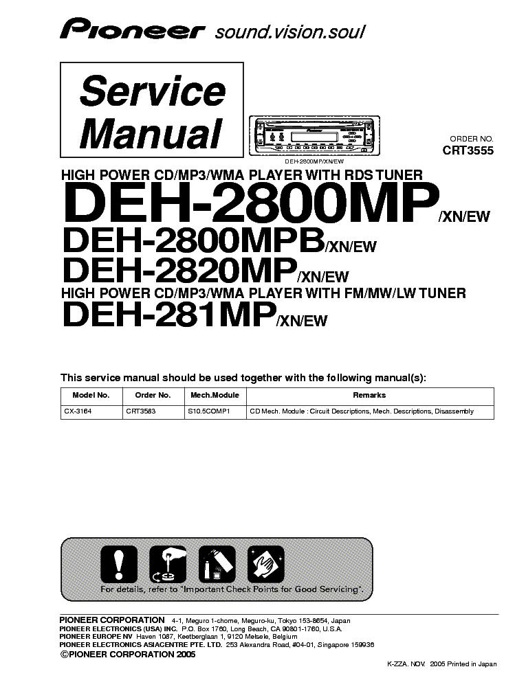 PIONEER DEH 2800MP Service Manual download, schematics, eeprom ...