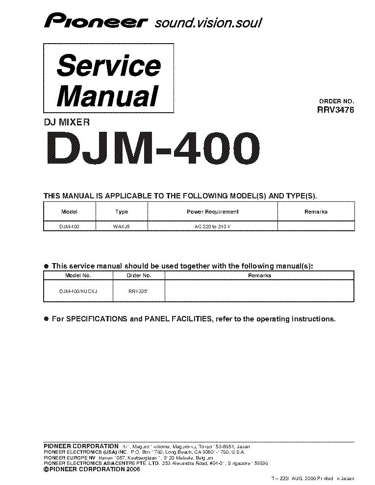 pioneer djm 400 rrv3476 dj mixer sm additional service manual rh elektrotanya com DJM-400 Mixer DJM-400 Review