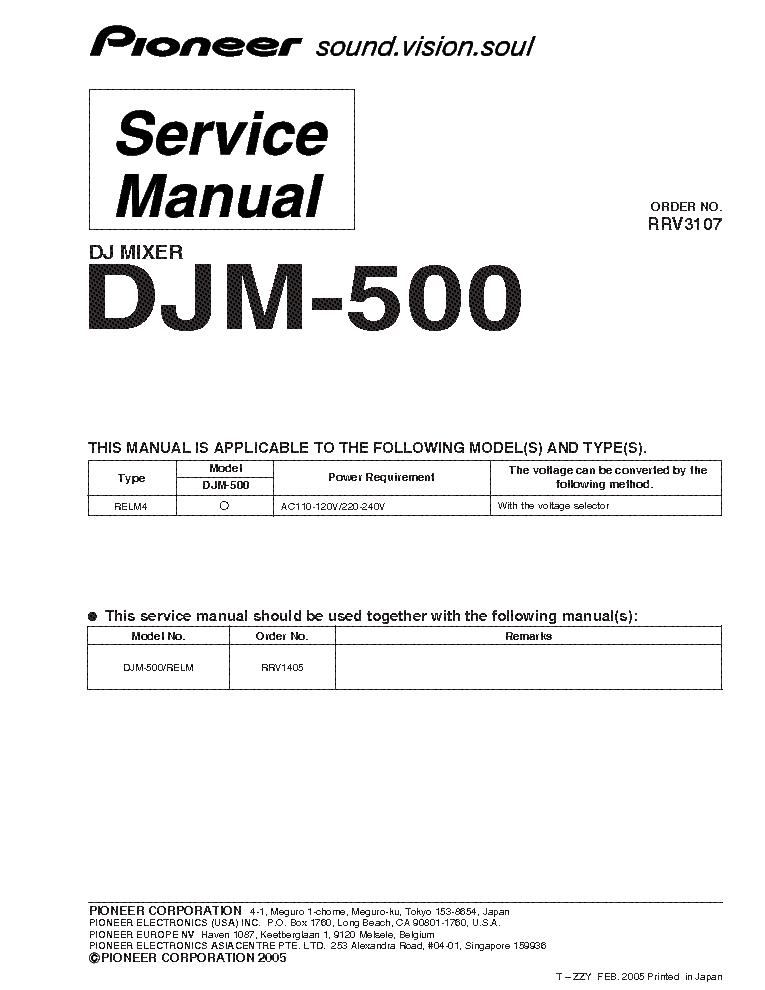 pioneer djm 500 service manual download schematics eeprom repair rh elektrotanya com DJM- 600 DJM-500 Mixer