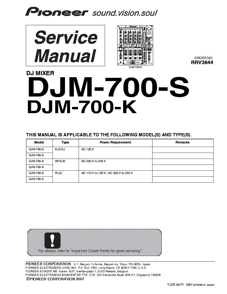 pioneer djm 700 manual free owners manual u2022 rh wordworksbysea com pioneer service manual for ra chainsaw pioneer service manual vsx-453s
