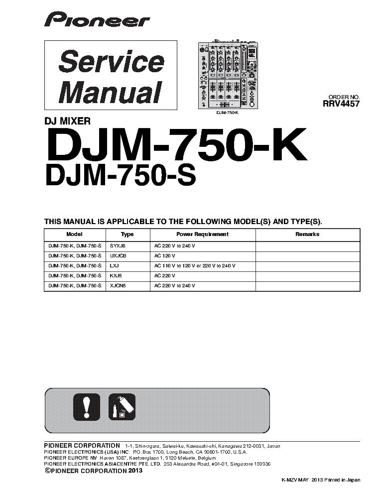 pioneer djm 750 k s rrv4457 dj mixer service manual download rh elektrotanya com service manual pioneer sa-7800 service manual pioneer djm 600