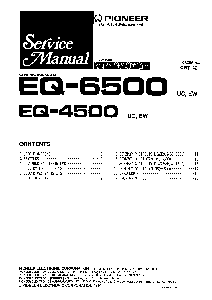 Pleasant Pioneer Eq 4500 Eq 6500 Service Manual Service Manual Download Wiring Cloud Hisonuggs Outletorg
