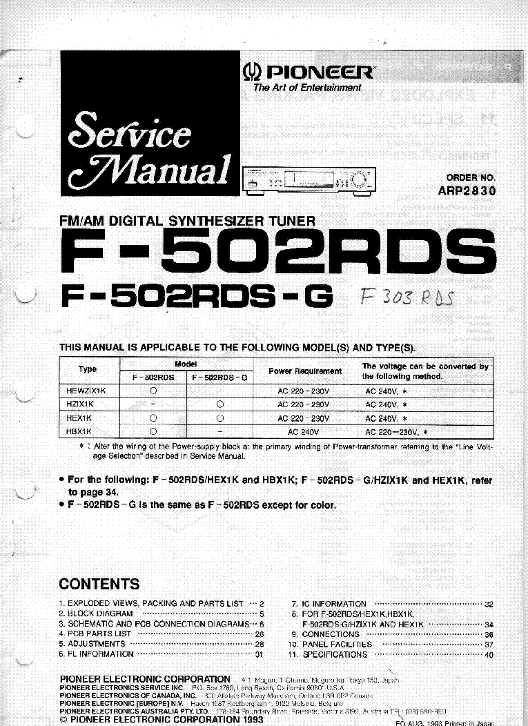 PIONEER F-502RDS service manual (1st page)