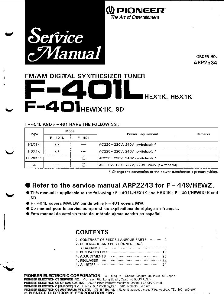 pioneer spec 1 service manual