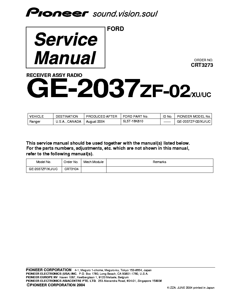 PIONEER GE 2037ZF 02 XU UC service manual (1st page)