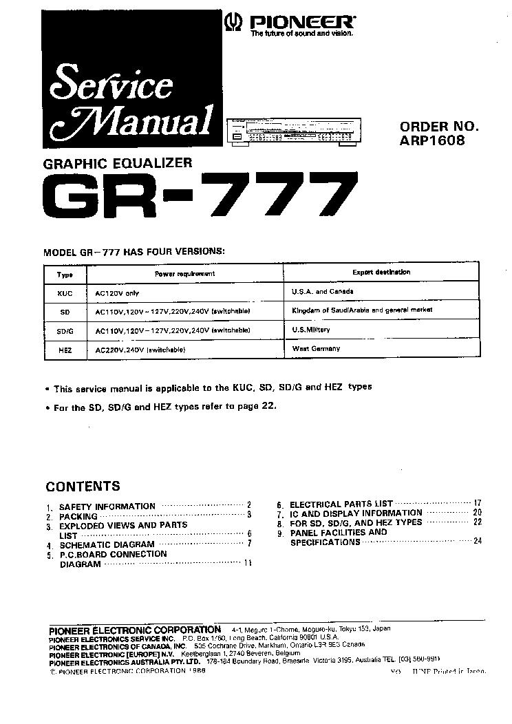 pioneer gr 777 sm service manual download schematics eeprom rh elektrotanya com pioneer gr 777 manual pdf pioneer equalizer gr 777 manual