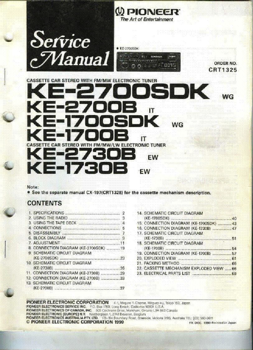 PIONEER KE-2700SDK 2700B 1700SDK 1700B 2730B 1730B CRT1325 ... on