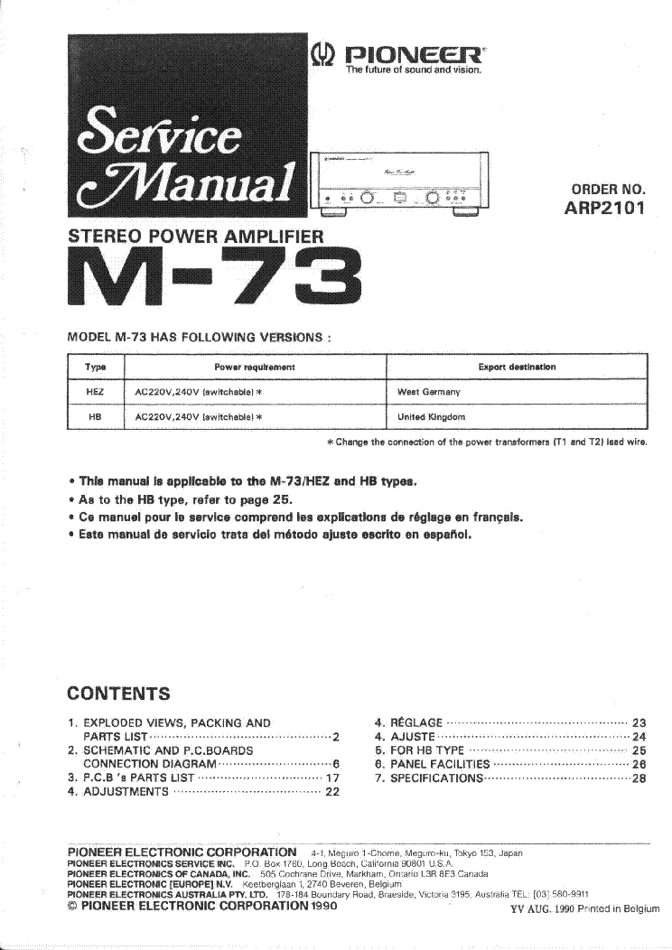 pioneer m 73 service manual download schematics eeprom repair
