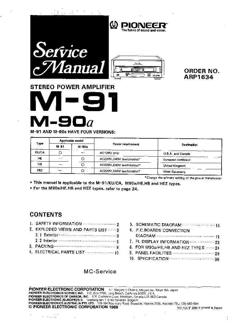 pioneer m 90a m 91 service manual download schematics eeprom