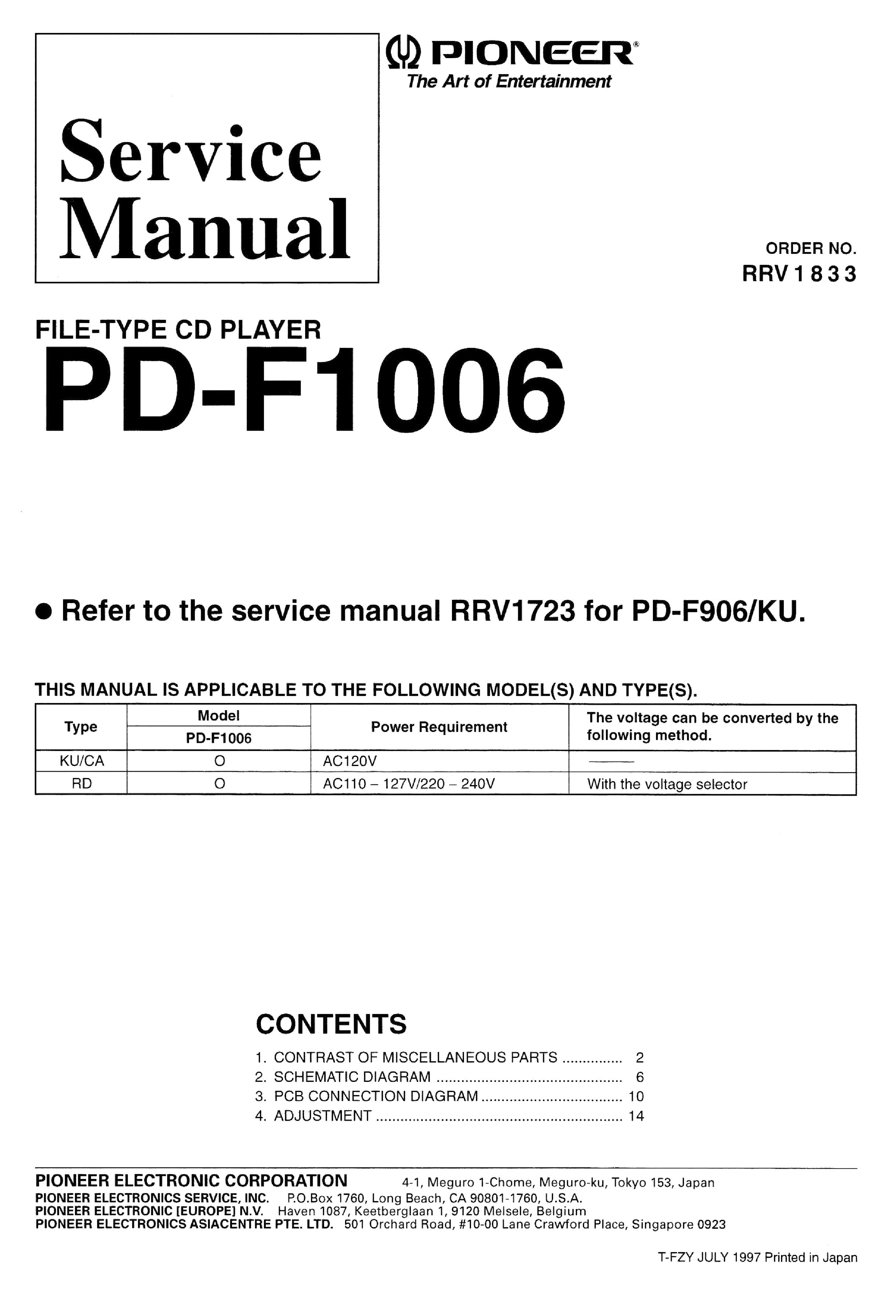 PIONEER PD-F1006 RRV1833 service manual (1st page)