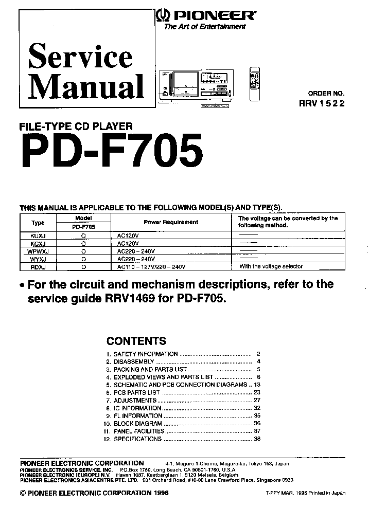 Pioneer Pd M90x Owners manual