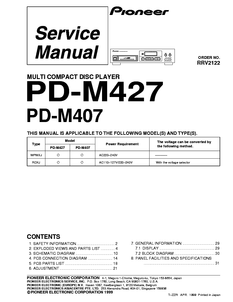 PIONEER PD M427 PDF DOWNLOAD