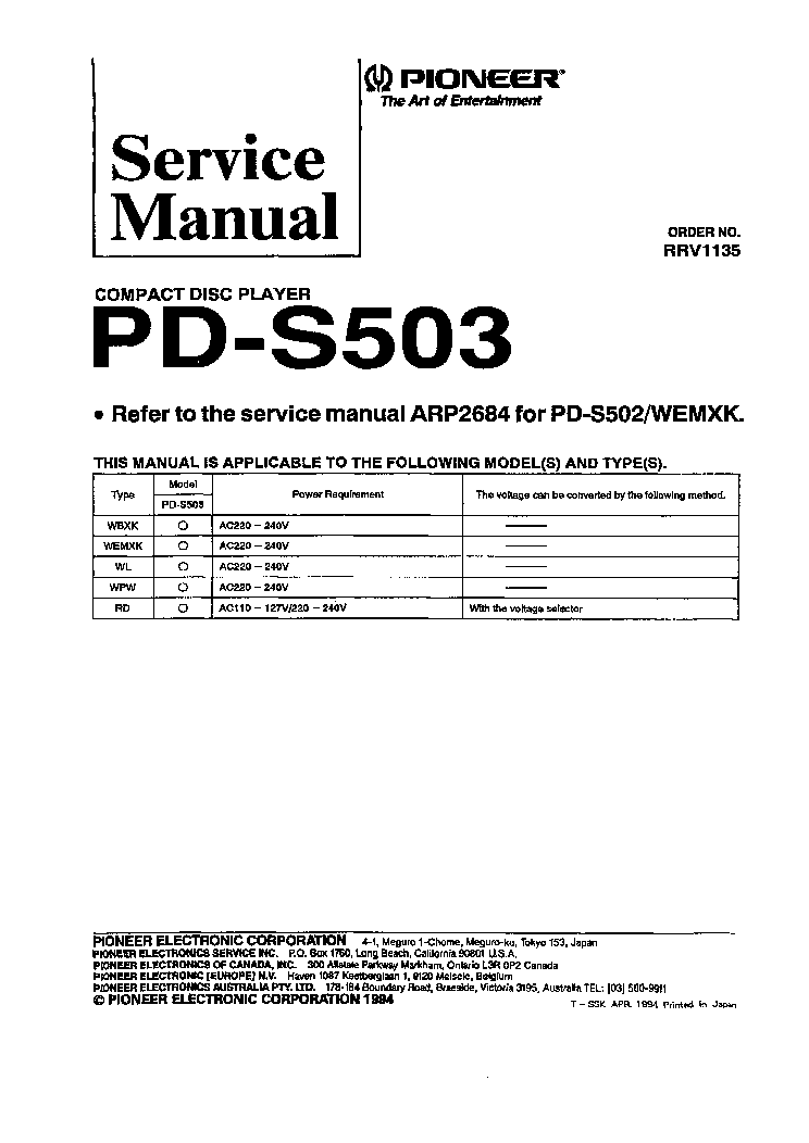 PIONEER PD-S503 SM service manual