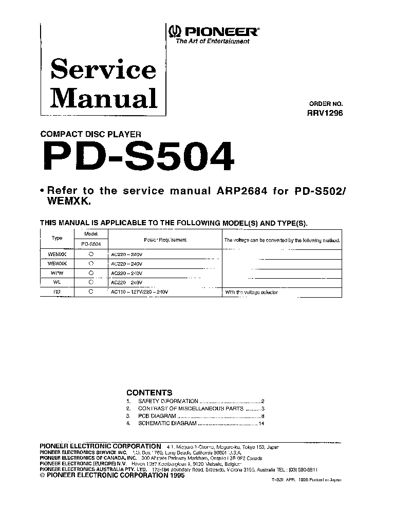 Pioneer pd s505 manual tire