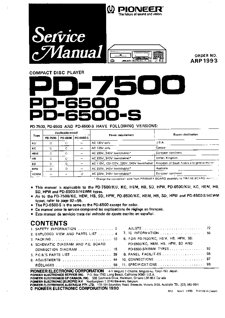 pioneer pd6500 pd7500 service manual download  schematics