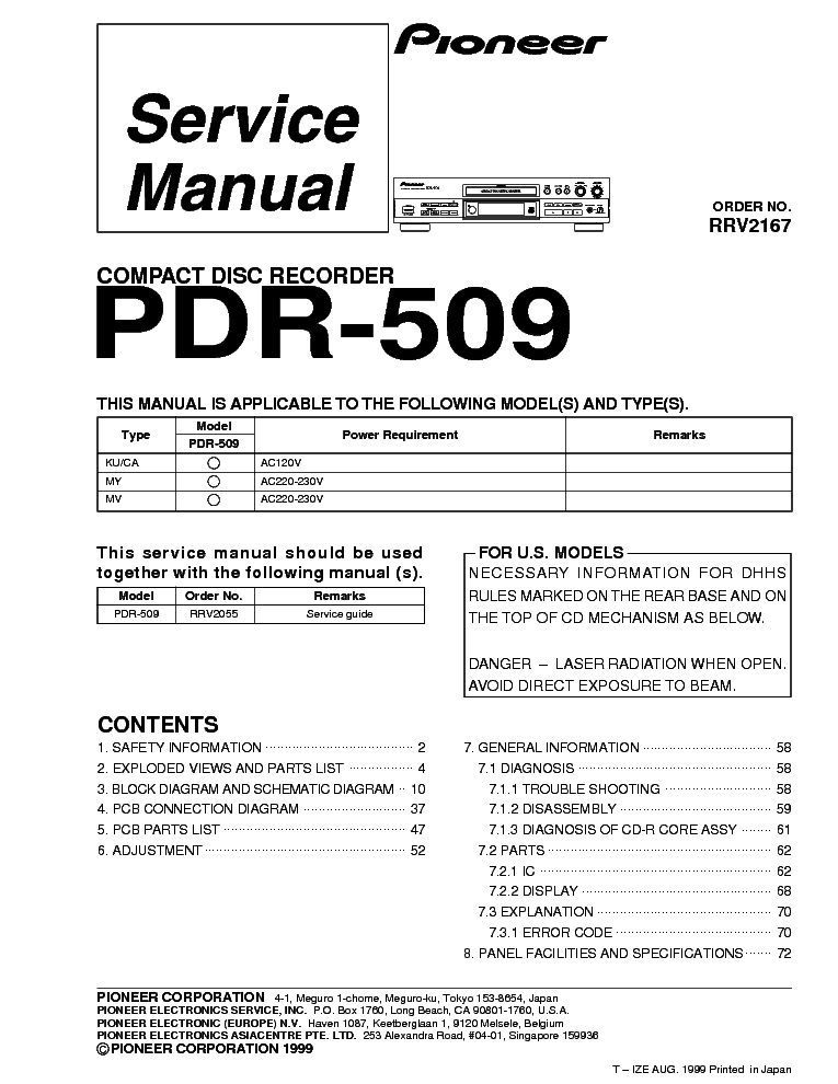 pioneer pdr 509 service manual download schematics eeprom repair