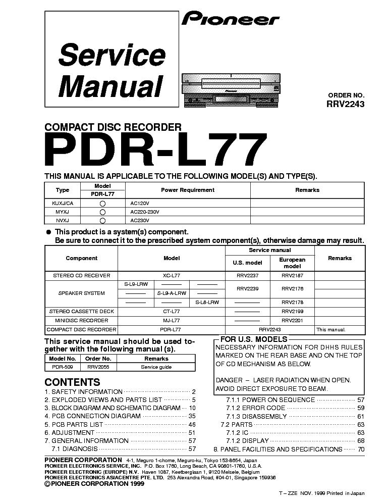 pioneer pdr l77 service manual download schematics eeprom repair