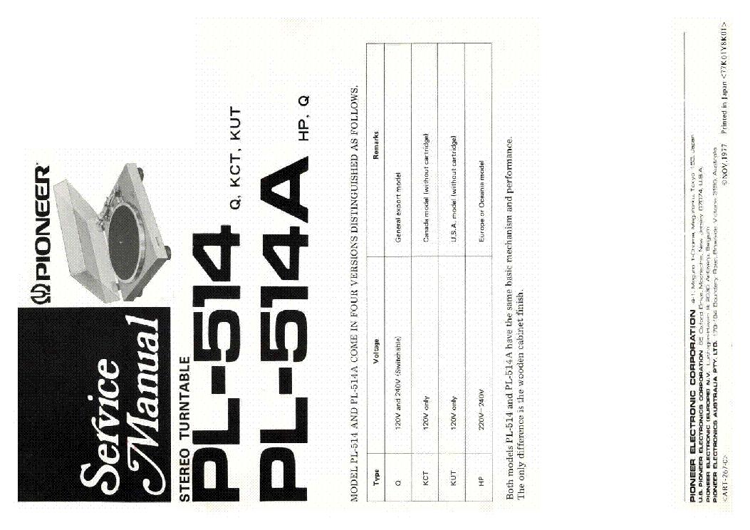 Pioneer PL-514 PL-514A Turntable Service Manual