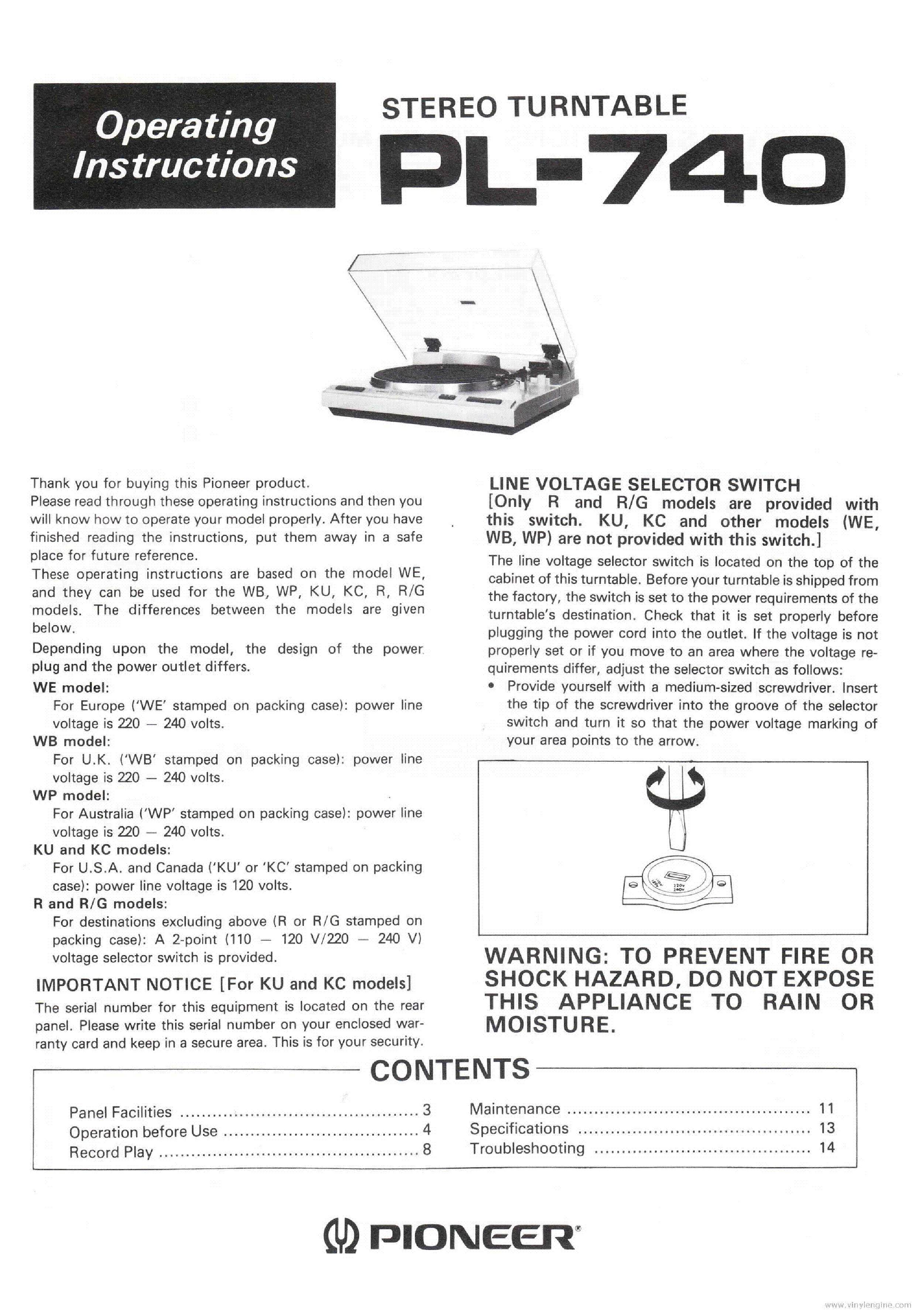 PIONEER PL-740 STEREO TURNTABLE 1983 OP SM service manual (1st page)