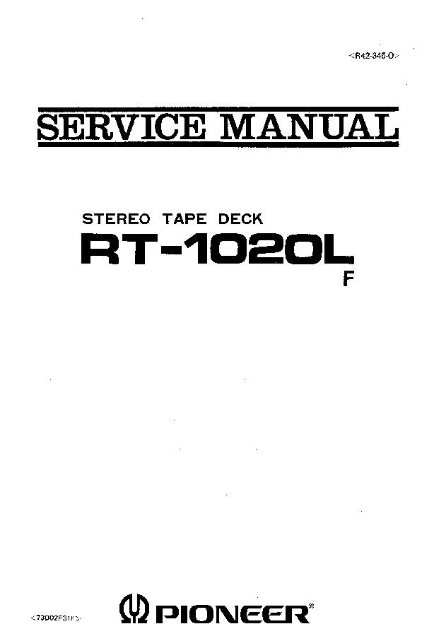PIONEER RT-1020L F SM service manual (1st page)