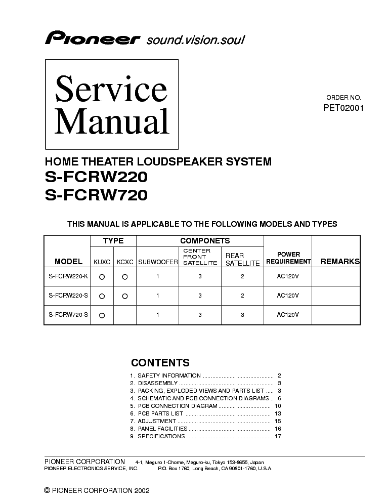 PIONEER S-FCRW220 S-FCRW720 service manual (1st page)