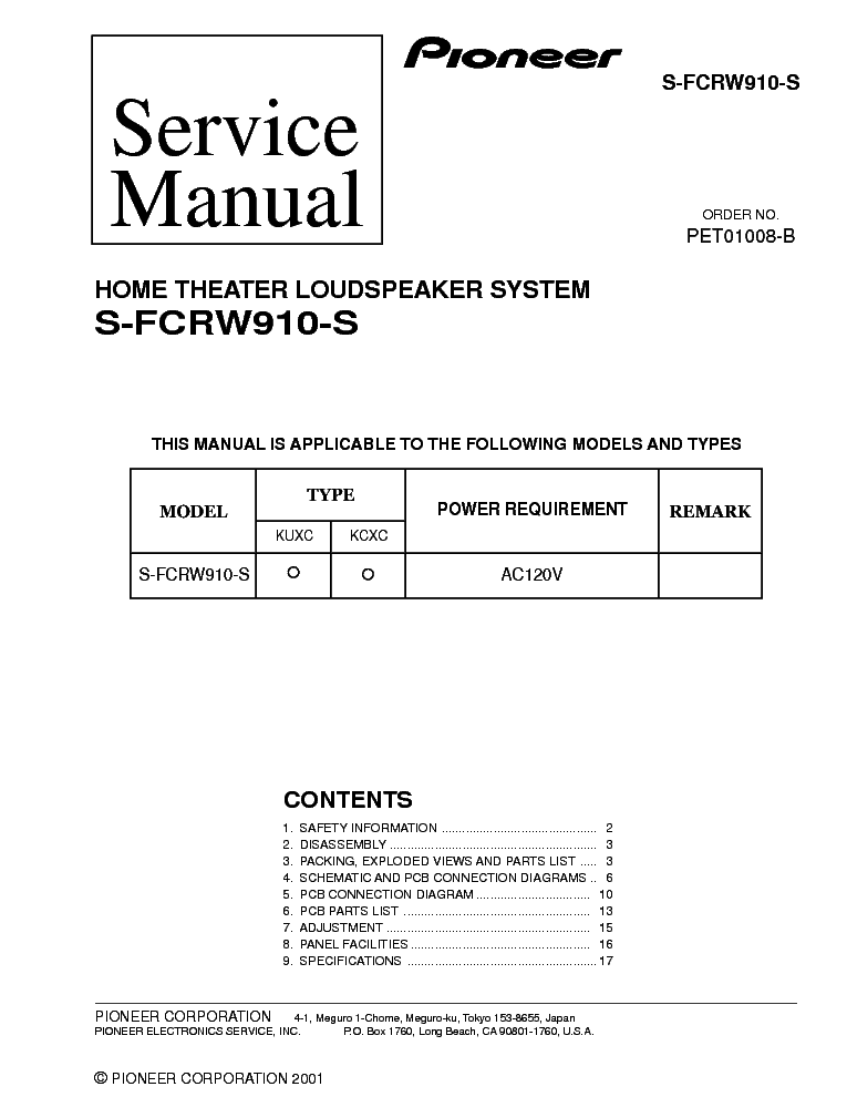 PIONEER S-FCRW910-S service manual (1st page)
