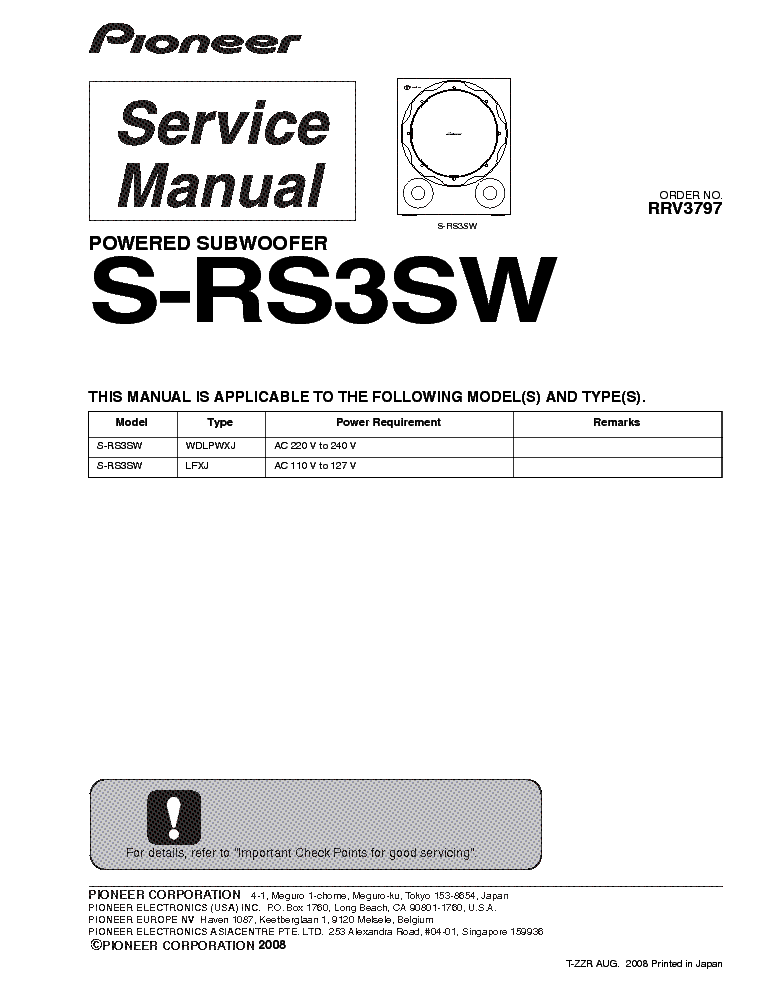PIONEER S-RS3SW service manual (1st page)