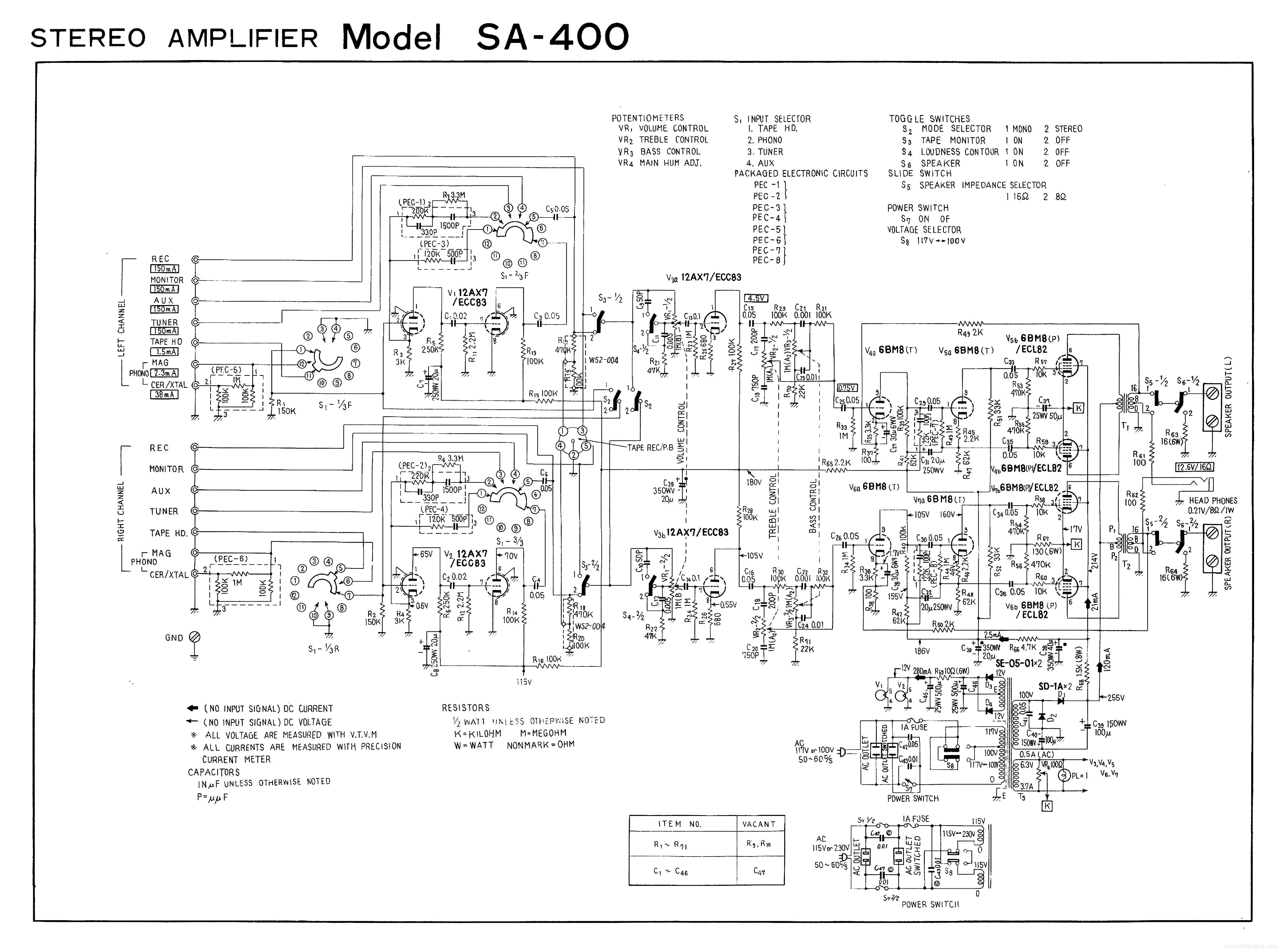 PIONEER SA-400 SCH service manual (1st page)