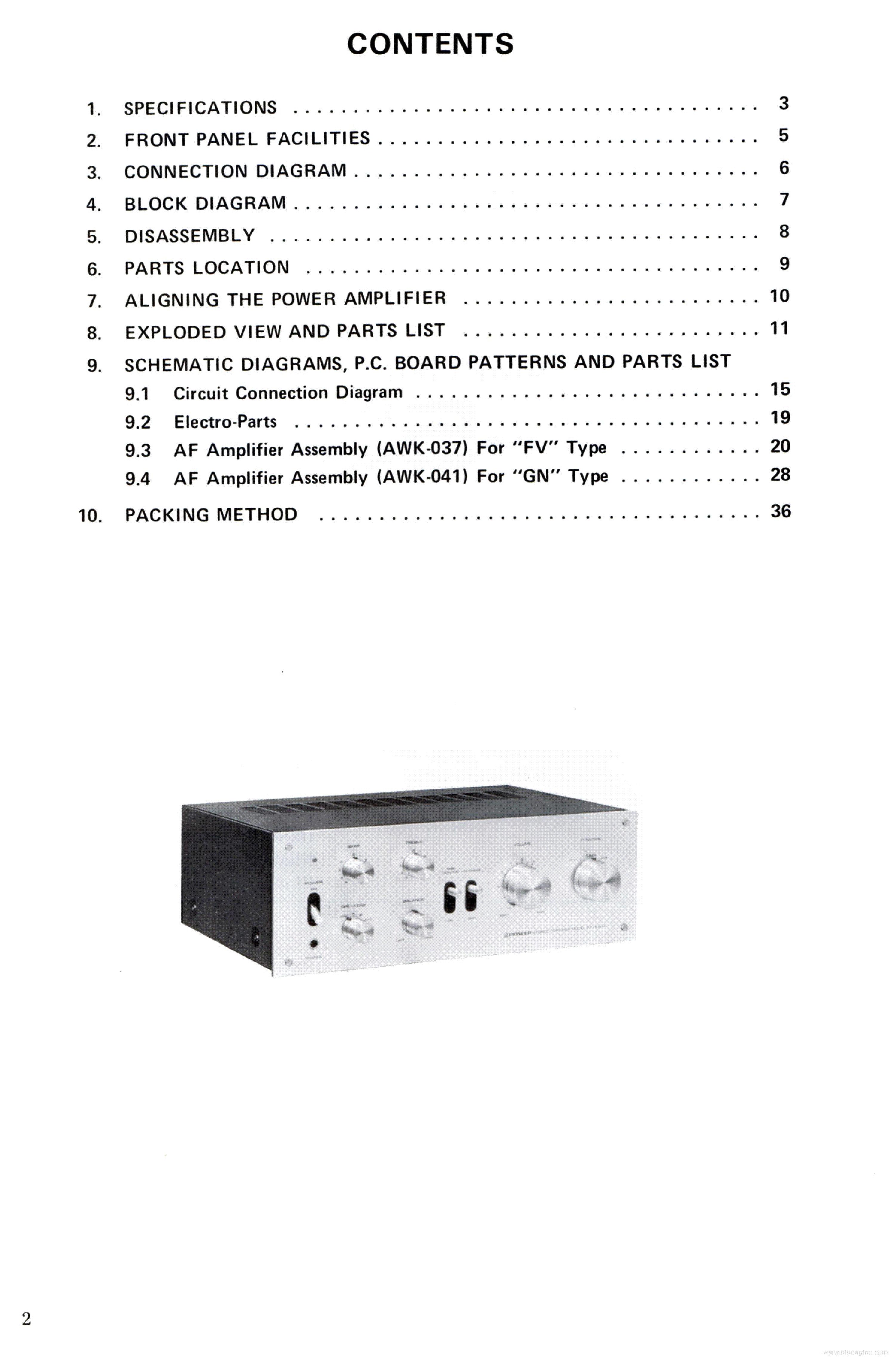 PIONEER SA-5300 ART1010 Service Manual download, schematics