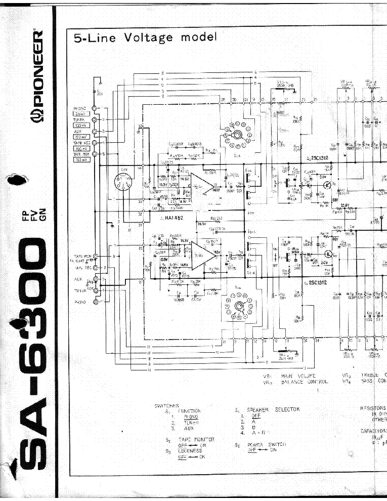 PIONEER SA-6300 Service Manual download, schematics, eeprom ... on