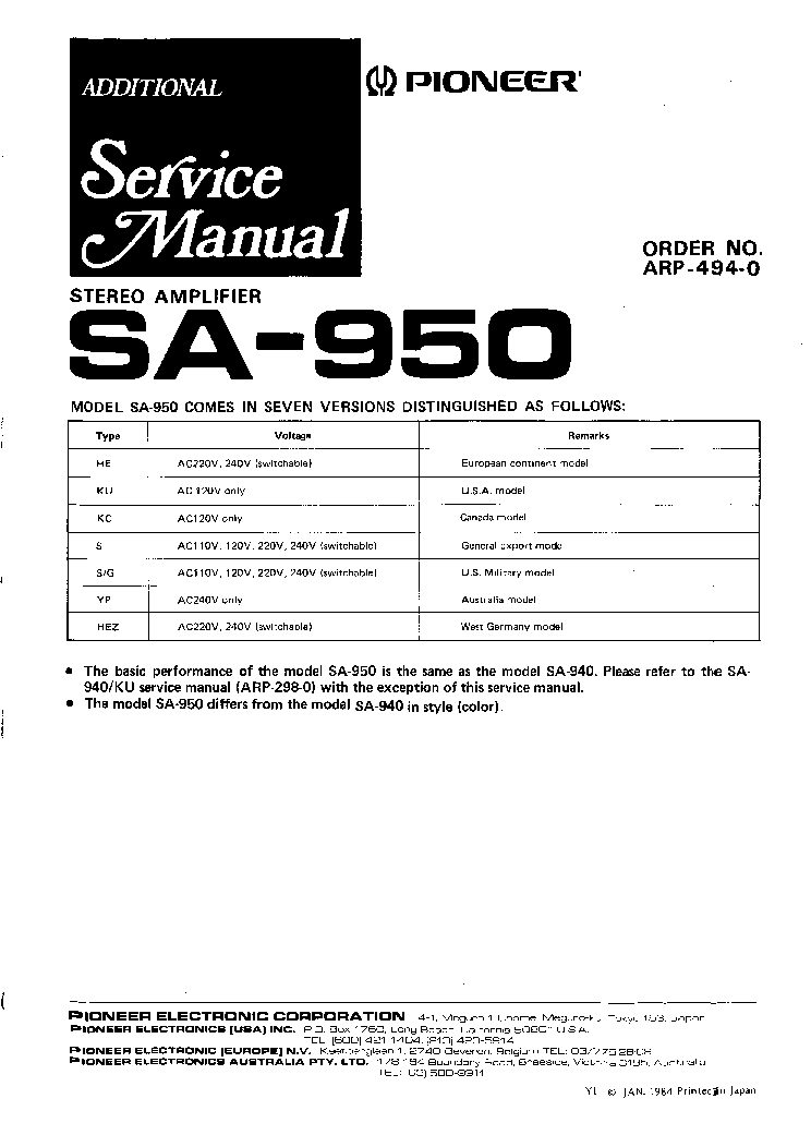 PIONEER SA-950 service manual (1st page)