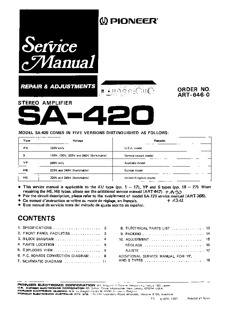 Pioneer Sa420 Service Manual Download  Schematics  Eeprom