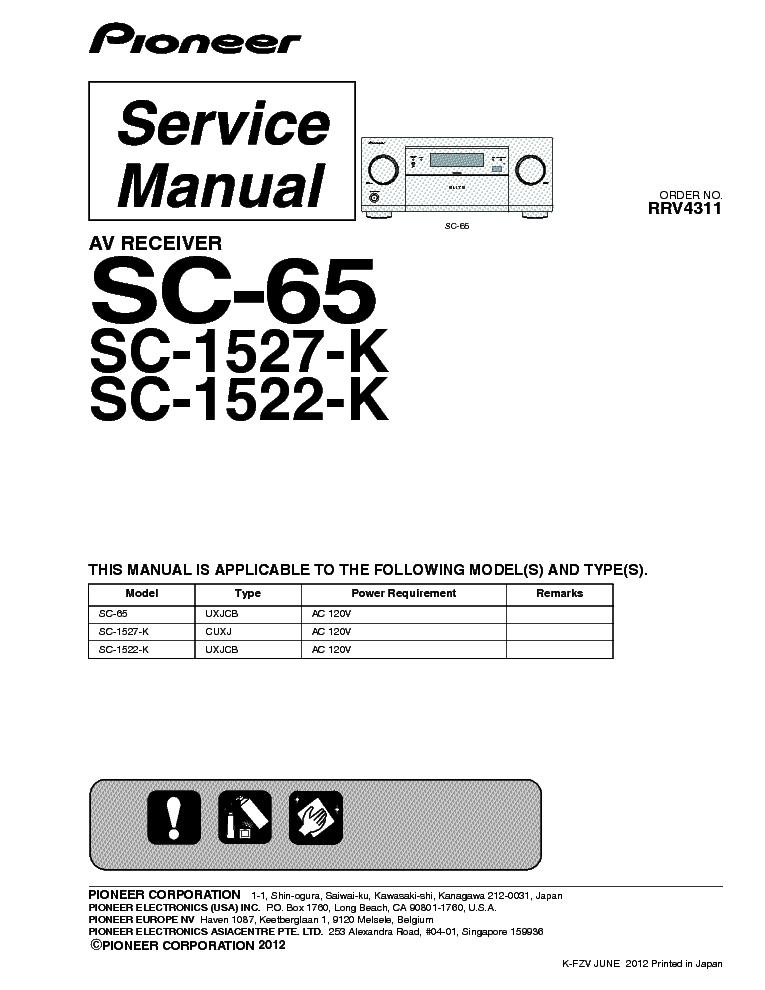 Pioneer Sc 65 Sc 1527 K Sc 1522 K Av Receiver Service Manual