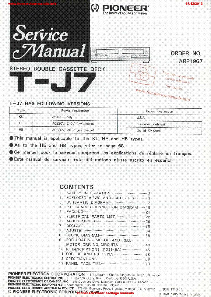 PIONEER T-J7 ARP1967 Service Manual download, schematics, eeprom