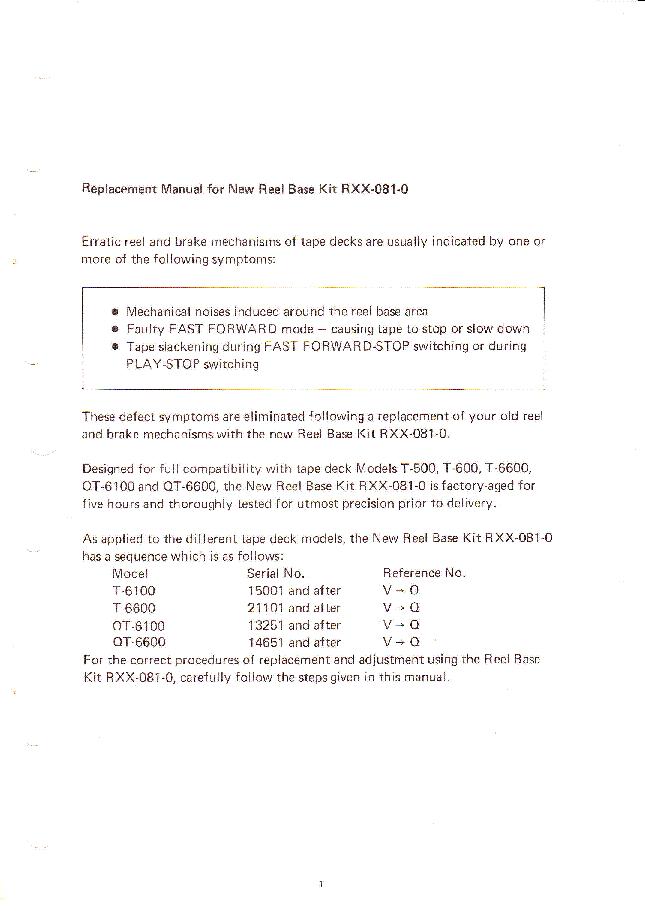 PIONEER T 500 600 6100 6600 QT 6100 6600 NEW REEL-BASE-KIT