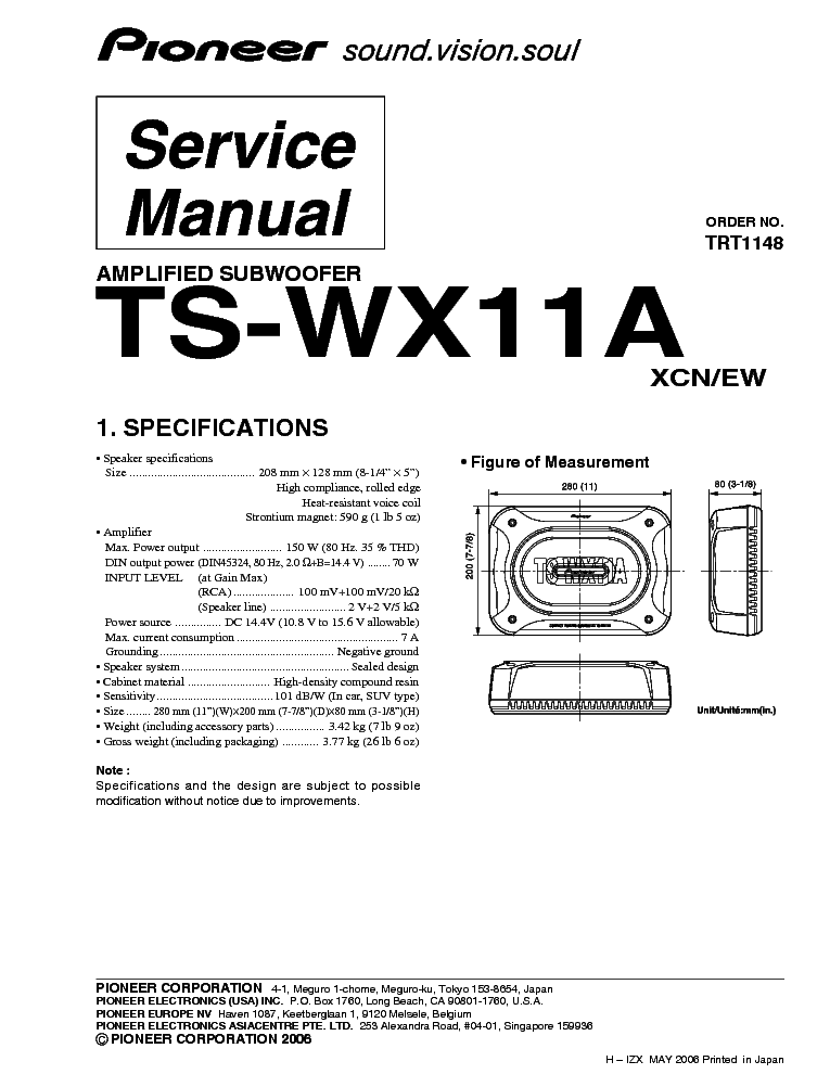 pioneer ts wx11a service manual free download schematics. Black Bedroom Furniture Sets. Home Design Ideas