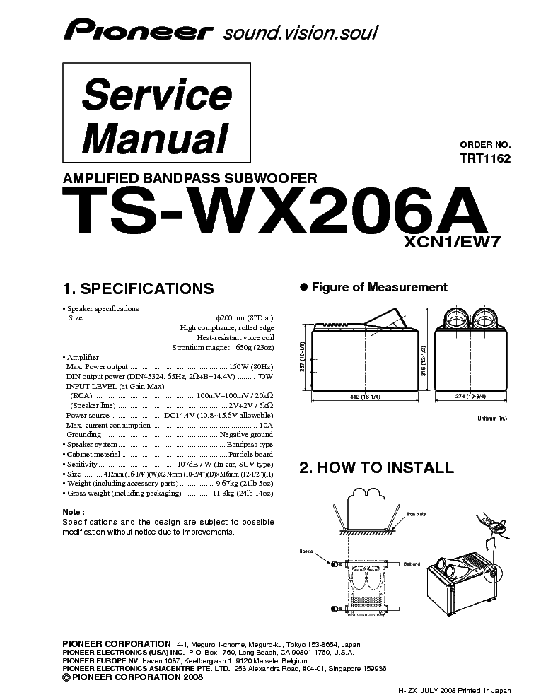 PIONEER TS-WX206A service