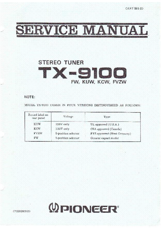 pioneer_tx 9100_stereo_tuner_art0010_1973_sm.pdf_1 pioneer vsx 305 wiring diagram pioneer parts diagram, pioneer pioneer vsx 305 wiring diagram at couponss.co