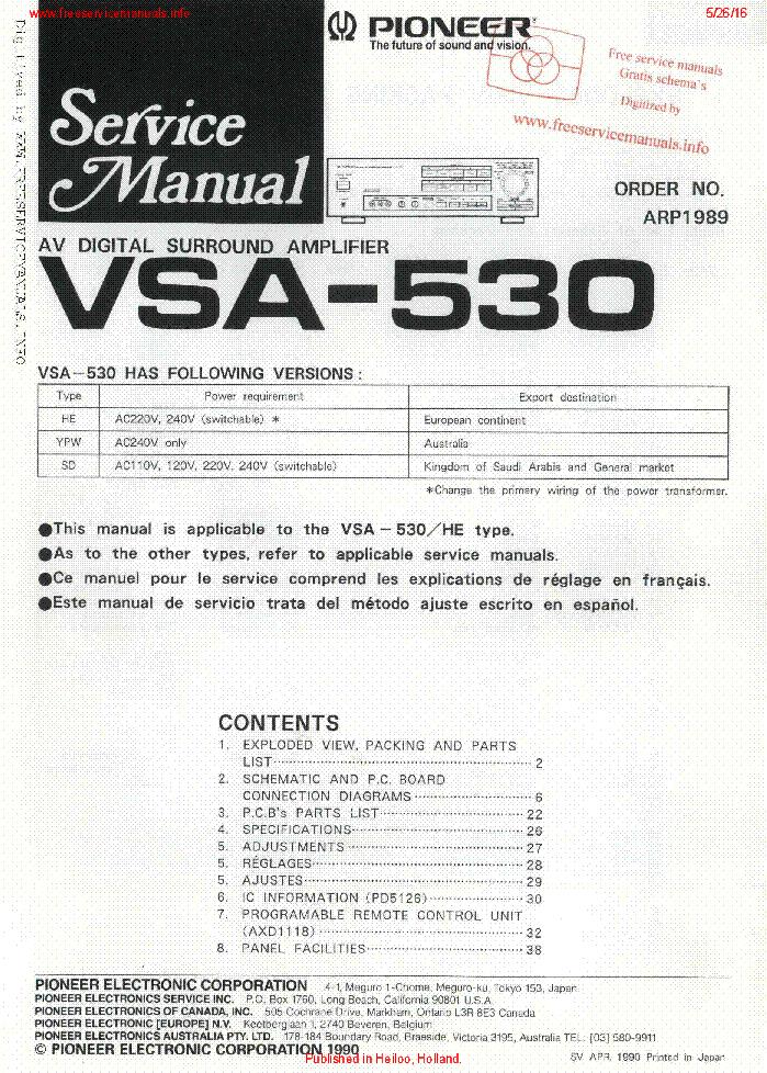 pioneer vsa 530 sm service manual download schematics eeprom