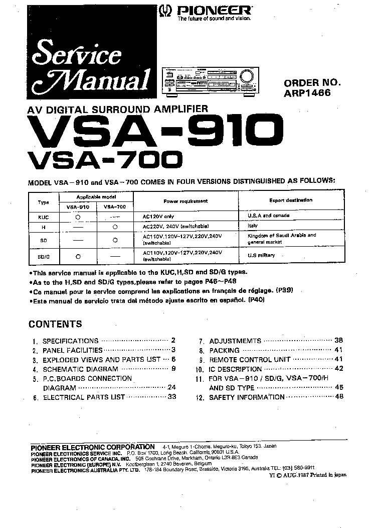 Инструкция Для Усилитель Vsa 805S Pioneer
