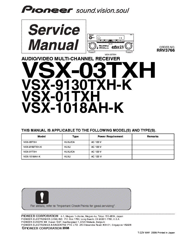 pioneer vsx 01txh 03txh 9130txh k 1018ah k sm service manual rh elektrotanya com Pioneer VSX Receiver Manual Pioneer VSX 1123