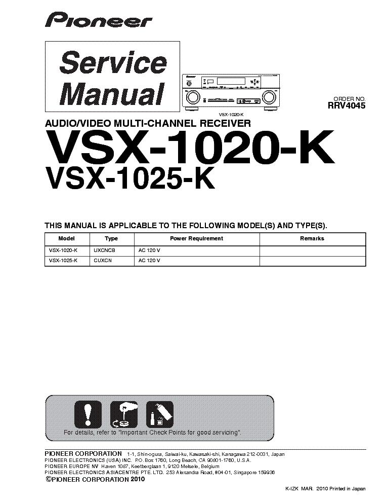 pioneer vsx 1020 k 1025 k sm service manual free download Pioneer VSX 1020 7.1 K pioneer receiver vsx-1020-k manual