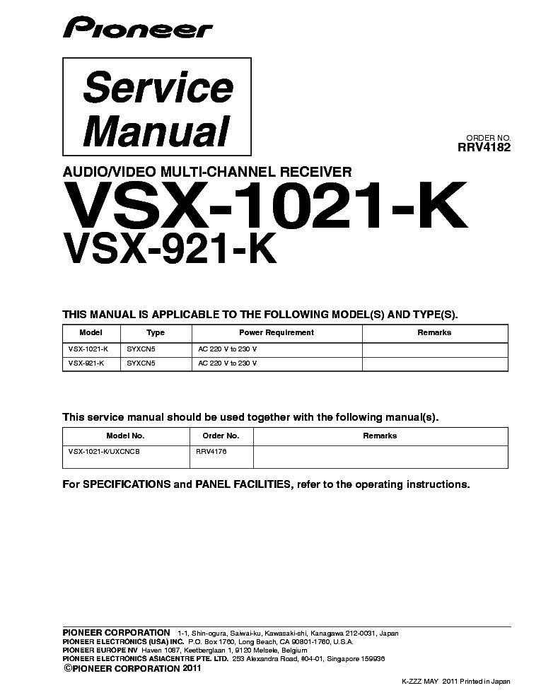 pioneer vsx 921 k manual pdf